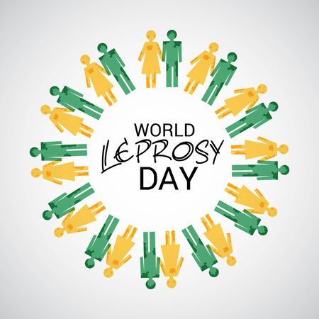 World Leprosy day. Men and women icons circled. Vector illustration.
