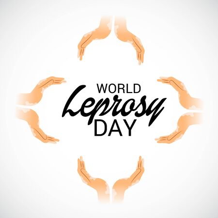 World Leprosy day calligraphy with hands illustration.