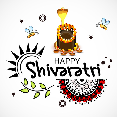 Happy Shivratri greeting card design.