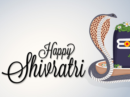 A cobra beside an abstract rostrum with flowers. and Happy Shivratri text in gray background. Illustration