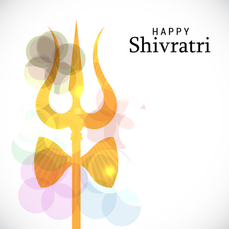 A trident with ribbon in white and bokeh background. Happy Shivratri.