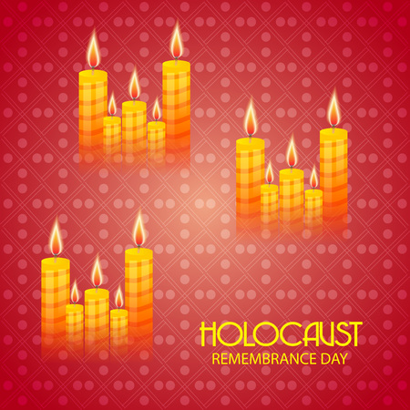 Sets of lighted candles in red background. Holocaust Remembrance Day.