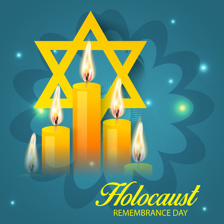 A star behind lighted candles in blue background with Holocaust Remembrance Day text.