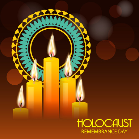 Lighted candles in an orange bokeh background with Holocaust Remembrance Day text.
