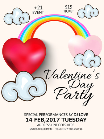 hearts, clouds and rainbow. Happy Valentines Day. Vector illustration. Illustration