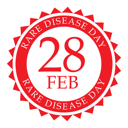 Rare Disease Day red stamp design