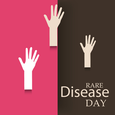 Rare Disease Day banner with hands illustration on pink and black background.