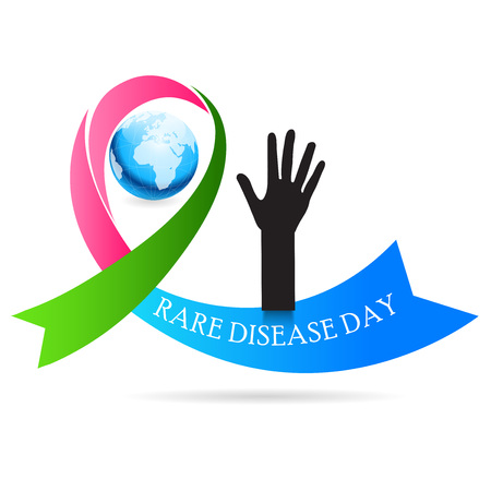 Rare Disease Day banner with globe, ribbon and hand illustration on white background.