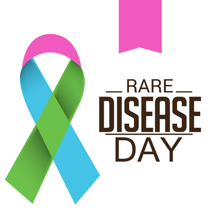 Rare Disease Day banner with ribbon illustration on white background.