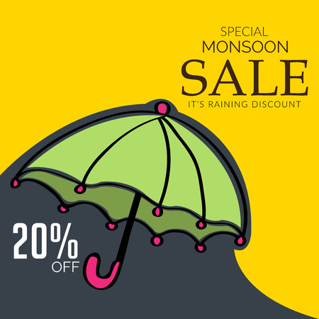 Happy Monsoon Offer with umbrella. Ilustração