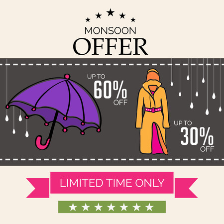 Happy Monsoon Offer. Vector illustration with purple umbrella, person in orange raincoat. Illustration
