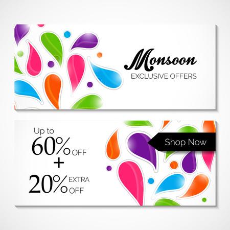 Happy Monsoon Offer flyers Vector illustration. Illustration
