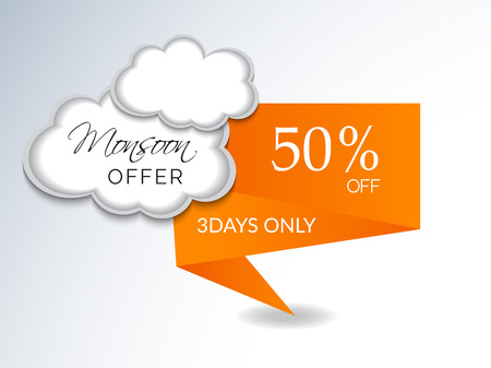 Happy Monsoon Offer. Clouds Vector illustration.