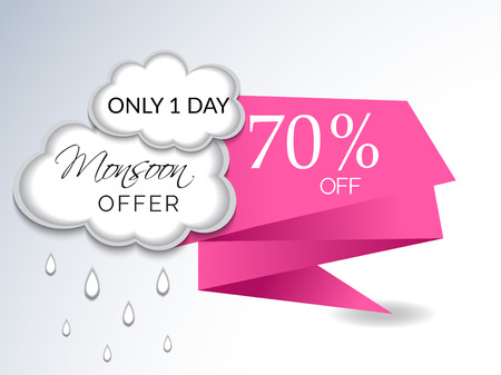 Happy Monsoon Offer. Clouds and rain Vector illustration.