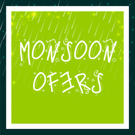 Happy Monsoon Offer. Rain on green background, Vector illustration.