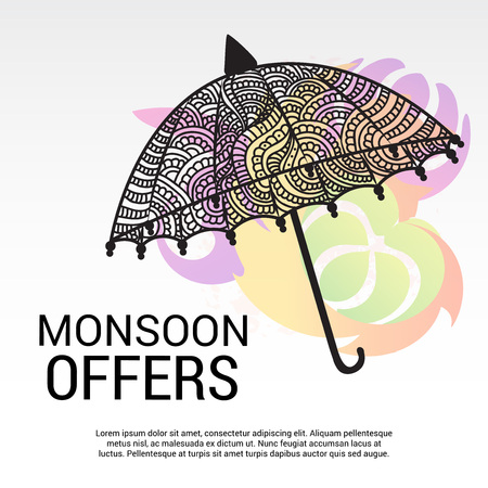 Happy Monsoon Offer. Vector illustration. Çizim