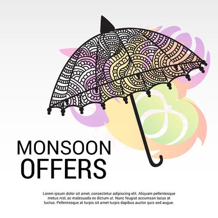 Happy Monsoon Offer. Vector illustration. Illustration