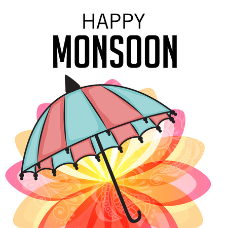 Happy Monsoon Offer with umbrella and flower. Illustration