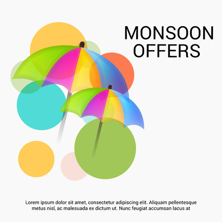 Happy Monsoon Offer with circles and umbrella. Illustration