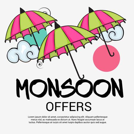Happy Monsoon Offer. Illustration