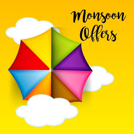 Happy Monsoon Offer banner design with umbrella