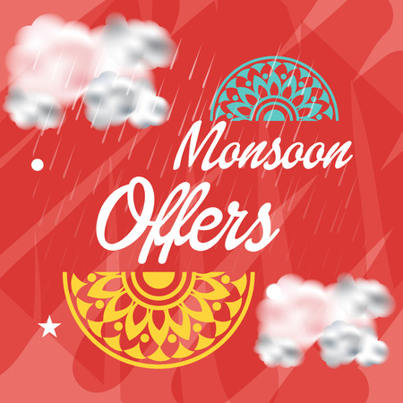 Happy Monsoon Offer with mandala design Illustration