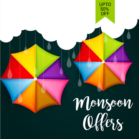 Happy Monsoon Offer banner with umbrella design