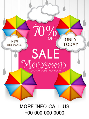 Happy Monsoon Offer banner with colorful design concept