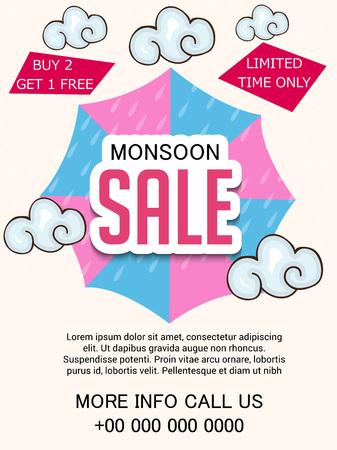 Happy Monsoon Offer. Vektorové ilustrace