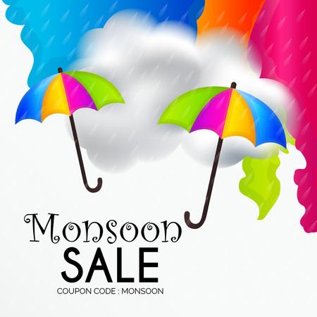 Happy Monsoon Offer illustration. Vektorové ilustrace