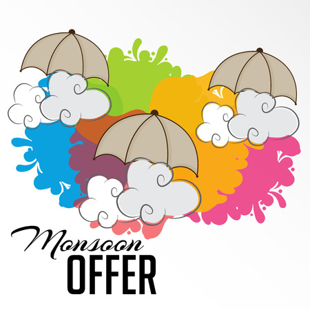 Happy Monsoon Offer commercial concept design vector.