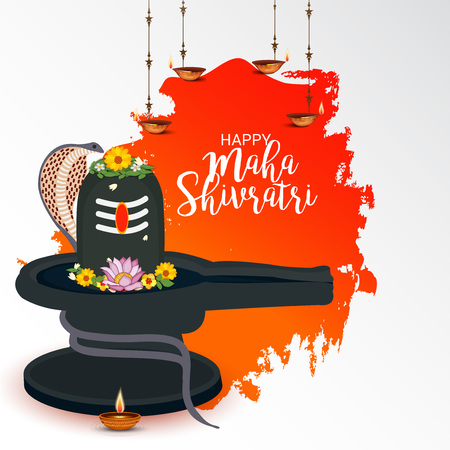 Maha Shivratri banner template with lamp and floral designs. Çizim