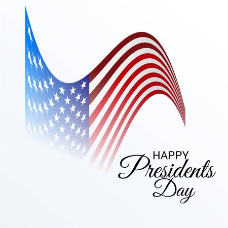 Happy Presidents Day Vector illustration with USA flag on white background.