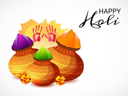 Happy Holi celebration icons like jar and leaves.