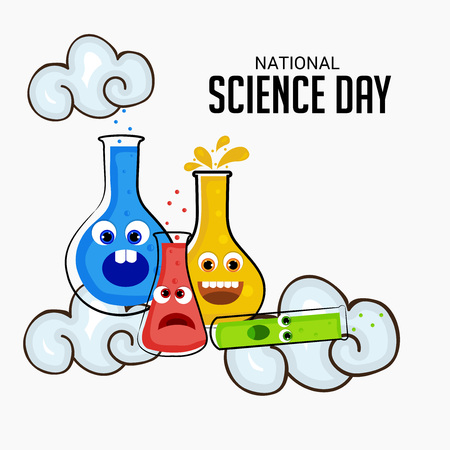 National Science Day with test tube Illustration