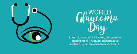 World Glaucoma Day on blue background