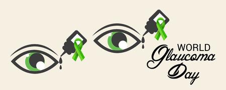 World Glaucoma Day on beige background