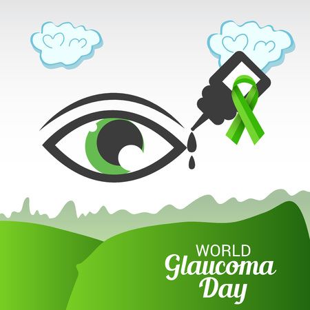 World Glaucoma Day banner in green landscape color background