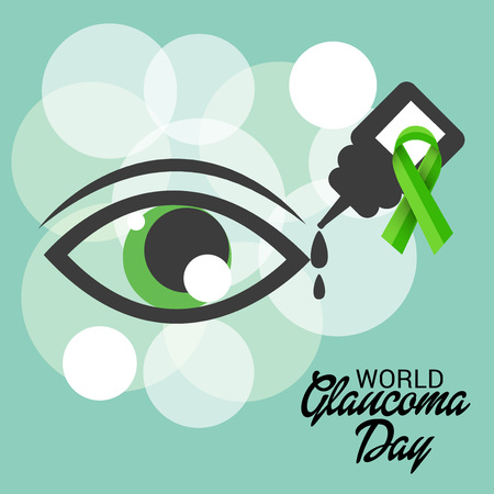 World Glaucoma Day banner with  green eyes design  イラスト・ベクター素材