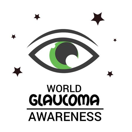 World Glaucoma Day banner with  green eyes design Ilustracja