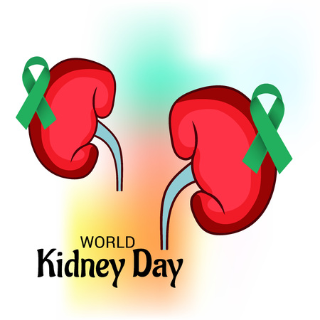 World Kidney Day banner design on colorful pastel background
