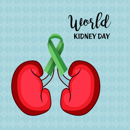 World Kidney Day banner, kidney with green ribbon design over teal background