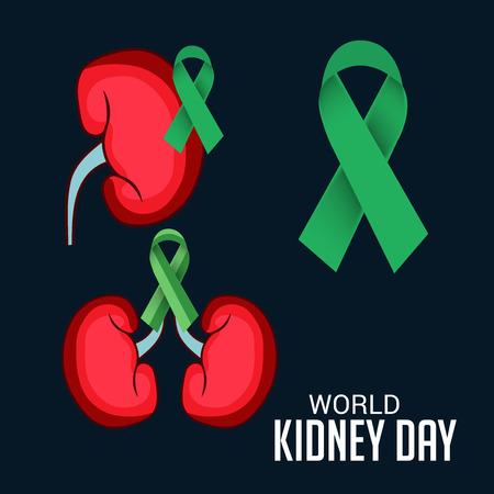 World Kidney Day banner, kidney with green ribbon design over black background Illustration