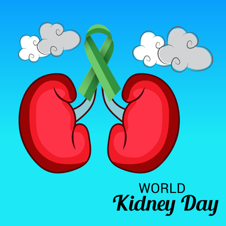 World Kidney Day banner, kidney with green ribbon design over different shade of blue background