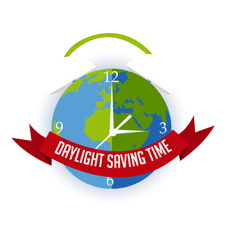 Daylight Saving time icon with Earth as clock design