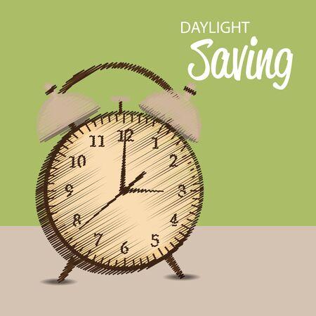 Daylight Saving with wooden clock design Vettoriali