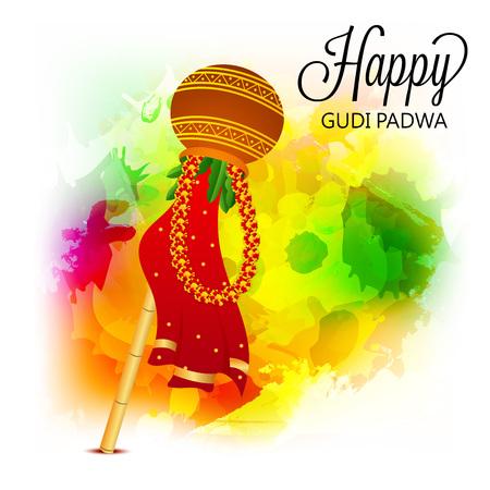 Happy Gudi Padwa isolated on plain background.