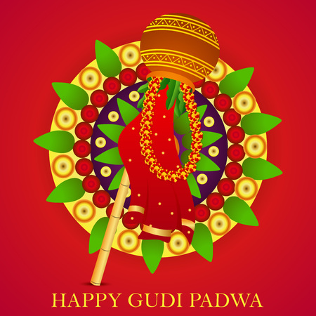 Happy Gudi Padwa isolated on plain background. Stock Vector - 95925893