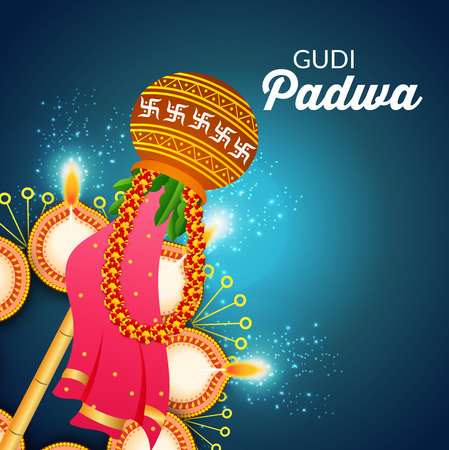 Happy Gudi Padwa greetings with graphic design element.
