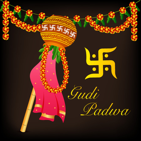 Happy Gudi Padwa text with colorful element and hanging flowers illustration.